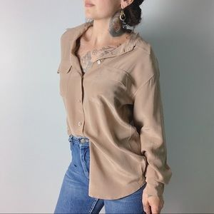 EQUIPMENT FEMME Signature Silk Shirt Tan